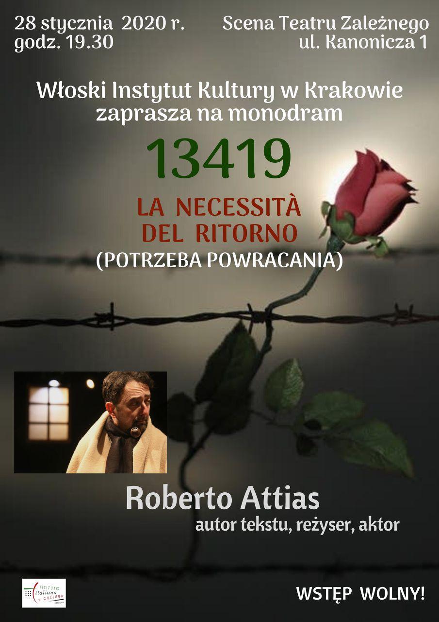 """Monodram teatralny """"13419 – Potrzeba powracania"""" – Roberto Attias"""