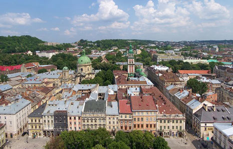 Above: View from the Town Hall Tower, Lviv Ukraine