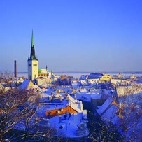 Panoramic View of Old Town in Winter
