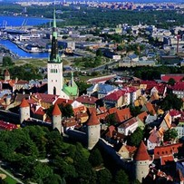 Aerial view of the Town Wall and St. Olav's Church